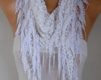 White Lace Scarf, Wedding Scarf, Shawl,Bohemian, Necklace,Cowl Scarf, Bridesmaid Gift Gift Ideas For Her, Women's Fashion Accessories