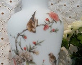 70% OFF MOVING SALE Chic Vintage ~Norleans Made in Italy~Frosted White Glass Sparrow Pink~Rose ~Satin White