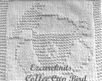 Knitting Cloth Pattern - COFFEE CUP BIRD - pdf