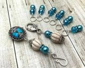 Blue Butterfly Magnetic Portuguese Knitting Pin Set- Snag Free Stitch Markers- Magnetic ID Badge Holder, Coworker Gift