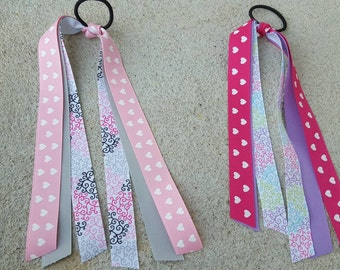 7/8 inch  light pink  or hot pink hearts streamer bow