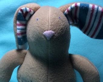 Baby's Receiving Blanket, Hospital Hat or Onesie Ear Linings on Fleece Bunny