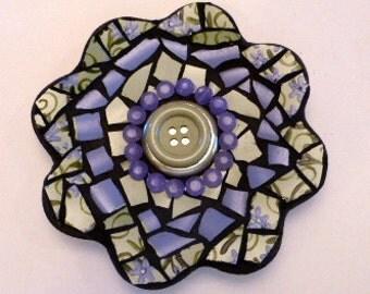 3D Mosaic Flower, Periwinkle & Green