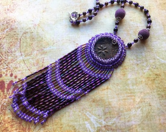 Raku Necklace, Bead Embroidery Fringe Necklace, Boho Gypsy Chic Jewelry, Wearable Art, Gift for Her