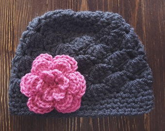 Girl Crochet Hat, Newborn Girl Hat, Gray and Pink Hat, Baby Girl Hat, Newborn Photo Prop, Girls Gray Hat, Baby Girl Beanie