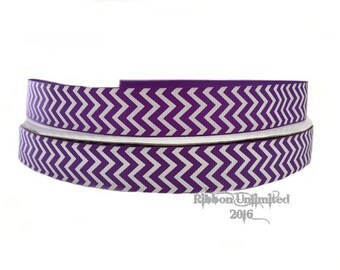 10 Yds. WHOLESALE 7/8 Inch Purple & White Chevron grosgrain ribbon LOW SHIPPING Cost