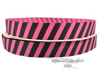 100 Yards 7/8 Inch Shocking Pink and Black Diagonal Stripe Grosgrain Ribbon