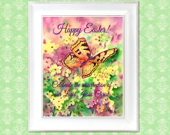 PRINTABLE Easter,Butterfly Printable,Happy Easter,Easter Watercolor,Watercolor Printable, Resurrection,Digital Art, Download, Art With Heart