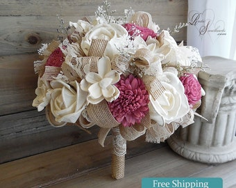 Ready to Ship 4 piece set ~~~ Wine/Burgundy Sola Flower Wedding Set ~ includes 1 Bridal Bouquet, 1 Toss Bouquet, 1 Corsage, 1 Boutonniere