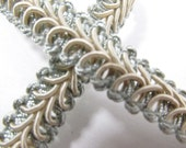 Seafoam Green and Beige 1/2 inch Raised Heavy Gimp Decorator or Upholstery Trim in precut pieces