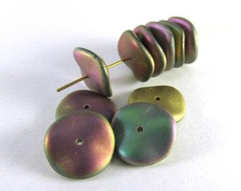 California Green Matte Czech Glass 12mm Ripple Beads (14)