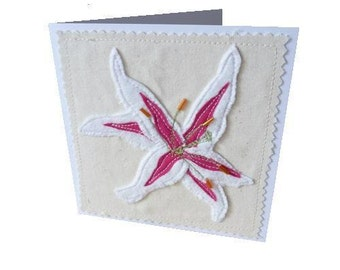 Lily applique card Birthday card thank you, mother's day , blank, textile card