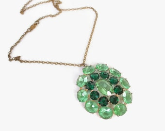 Vintage 30s NECKLACE / 1930s Oversized 2-Tone Green Glass Rhinestone Pendant Necklace
