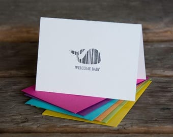 Whale Baby, letterpress printed card. New baby. Eco friendly