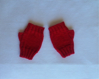 Women's fingerless mittens, hand-knitted using Debbie Bliss fine merino wool