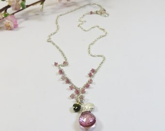 Rose Topaz Necklace w Green Tourmaline Heart and Keishi Pearl and Pink Sapphires; Delicate Topaz & Pearl Necklace Pendant w Sterling Vermeil