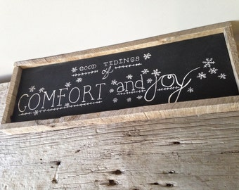 GOOD tidings of comfort and JOY wooden sign
