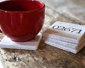 Personalized Zip Code Coaster Set Natural Tumbled Marble Rustic Home Decor - Custom Hand Painted Housewarming Gift