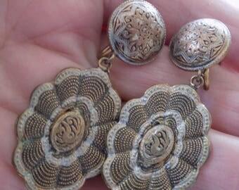 Vintage earrings, Spanish damascene enamel earrings, dangle earrings, screw back earrings, vintage jewelry, jewellery