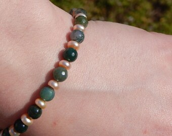 Moss Agate and Pink Pearl Bracelet, Peach Pearl Bracelet, Natural Agate Bracelet, OOAK, One of a Kind