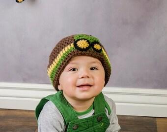 Crochet Korner Crochet Tractor Hat Birthday Gift Shower Gift Theme Birthday Boy Perfect Photography Prop Winter Hat Perfect Gift Wheels