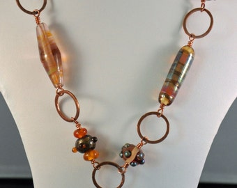 Beautiful lampwork lariat on copper necklace