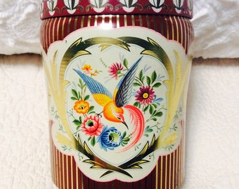 Vintage Hummingbird Flower Tin Container Red Blue Gold 1950s