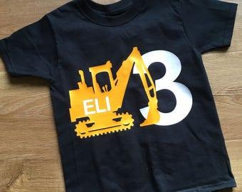 Personalized Construction Theme Birthday Shirt