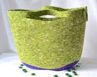 Decorative Gift Basket, Green Tote Bag, Handmade Storage Basket, Lovely Spring Basket, Green and Purple Picnic Basket