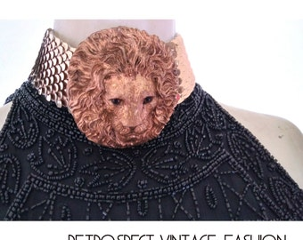 Vintage tribal Lion of Judah Neck Cuff belt custom chocker metal lion head with amber eyes, xl african afrique lion embellum