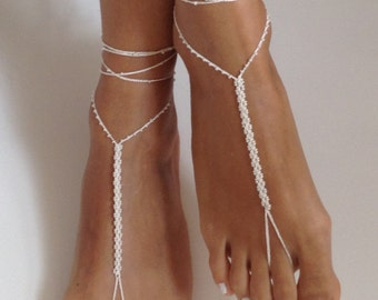 ivory,Barefoot Sandals bead , wedding , Bikini , Women , Beach , Bridal Shoes , Bridal Sandals , Bridal Jewelry ,shoes , READY TO SHIP