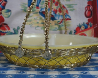 Vintage Yellow Maid of Honor Divided Serving Dish Gold Basket Carrier