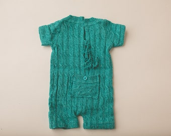 Turquoise Ribbed Sweater Romper- Newborn Photography Romper Set