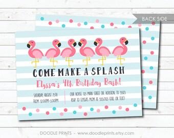 "Flamingo Invitation, Pink Flamingo Invite, Summer Pool Party Birthday Invitation, Customized Printable Invitation, 5x7 or 4x6"""