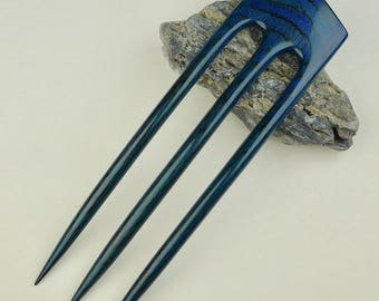 Reserved for Bianca NEW Three Prong Hair Fork made from Blueberry Webb Wood -  Very durable. Waterproof