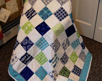 FREE SHIPPING, Tide Pool Quilt, Beach Decor, Hand Quilted
