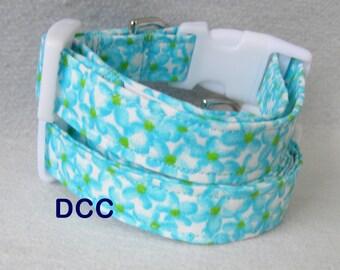 Dog Collar Blue Touquoise Floral Bouquet Flowers  CHOOSE SIZE Adjustable D Ring Collars Accessories Leaves Pet Pets Accessory