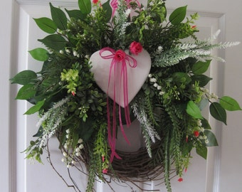 Four Season Wreath, Wedding Wreath, Front Door Wreath, Pink, White Heart, Grapevine Wreath, Gift Wreath