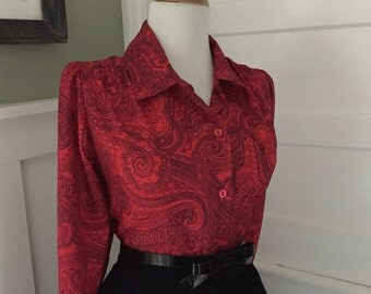 Vintage 1950s 1960s Blouse / Atomic Red & Black Paisley Print Shirt / Long Sleeve Button Down Blouse/ womens vintage blouse top