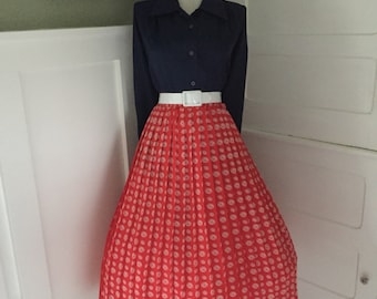 VINTAGE Red and White Polka Dot Accordion Swing Style Pleated Full Skirt