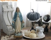 SHOP SALE Vintage Madonna with Serpent and Stars Chalk Ware Statue