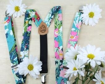"""Teal Floral Suspenders // Women's Suspenders // 1"""" Suspenders // Flowered Suspenders // Bowties and Suspenders"""