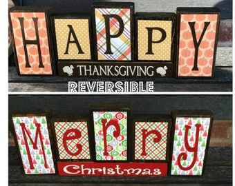 Weekend SALE--Reversible Christmas and Thanksgiving wood blocks-(red)Happy Thanksgiving reverses with Merry Christmas