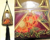 1920s Carved and Painted CELLULOID Dance Purse Vanity with Tassel ART DECO All Original