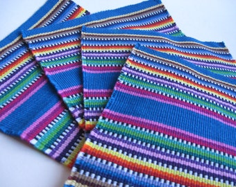 Excellent small teal turquoise rainbow striped vintage woven Mexican Aztec napkins set of 4