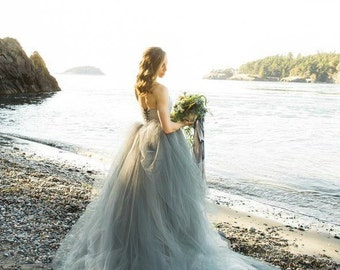Tulle Wedding Dress, Strapless lace with Tulle Skirt, Train, TULA, Grey, Black, White, Ivory, Blue Any Color