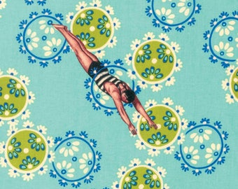 Song of the Siren in Aqua - NEPTUNE and the MERMAID - by Tokyo Milk for Free Spirit Fabric pwtm006 - By the Yard