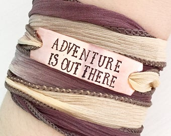 Adventure Is Out There, Silk Wrap Bracelet, Adventure Jewelry, Boho Jewelry, Bohemian Jewelry, Custom Stamped, Hand Stamped Jewelry