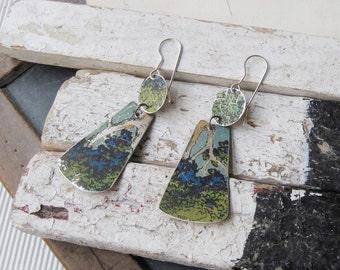 Vintage Tin Blue Green Earrings, Sterling Ear Wires, Chocolate Tin Earrings