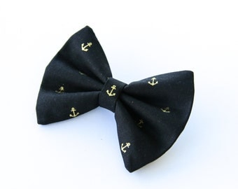 Black with Gold Metallic Anchors Nautical Hair Bow Hair Clip Rockabilly Pin up Teen Woman Girl